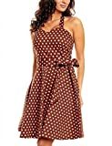VKStar® Womens Vintage Polka Dot Halterneck Retro Pin Cocktail Dress 50's 60's Rockabilly Pin-up Audrey Hepburn Swing Skater Short Ladies Prom Gown Brown Medium White Spots S
