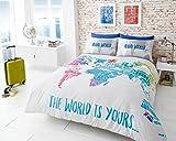 Juego de funda de edredón impreso suave y muy Durable mejor calidad | diseño de mapamundi | World Multi | por modo de Coton, matrimonio