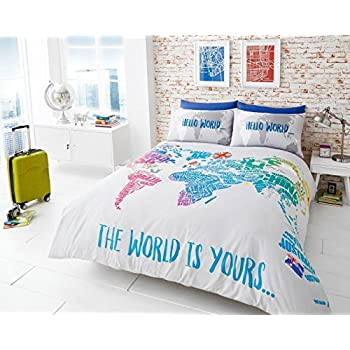 printed duvet cover set soft extremely durable best quality world map design world multi by coton mode double
