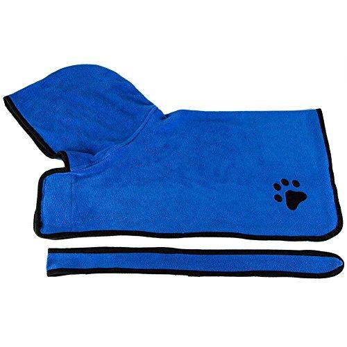 woyiazt Haustier Trocknen Badetuch Saugfähige Dusche Mit Kapuze Bademantel Kleidung (Blau XS)