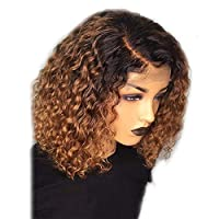Fotica Women Short Curly Wig, Fashion Lace Front Hair Wig Bob Water Wave Wig, Brazilian Style Curly Bob Wigs for Women