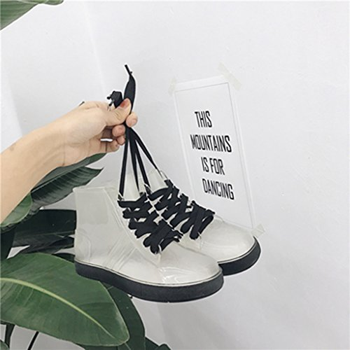 Chaussures Femme Mode étudiante Transparent Tube Court Bottes de Pluie Femme extérieur Chaussures antidérapantes en Caoutchouc Conseils: Achetez Une Petite Taille