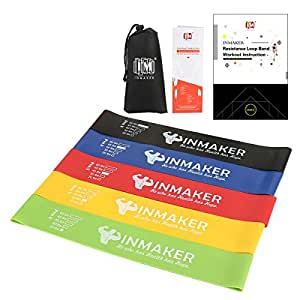 INMAKER Resistance Bands for Women and Men, Exercise Bands for Legs and Glutes,Funda (10-40lbs),Green, Yellow, Red, Blue, Black