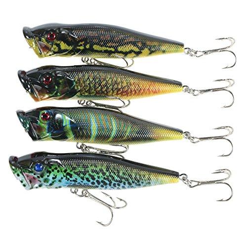 Lixada 4pcs Schwimmende Popper Fischen Lockt 12g 95mm Künstliche Harte Köder Set Wobbler Köder mit # 6 Haken