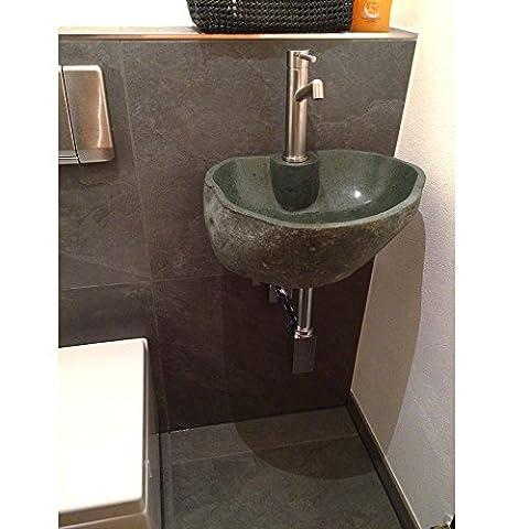 WOHNFREUDEN Naturstein Waschbecken Set inkl praktischer Wandhalterung aus Metall ✓ Steinwaschbecken mit Loch für Armatur ✓ Waschplatz Set für Gäste WC oder kleines Bad ✓ versandkostenfrei