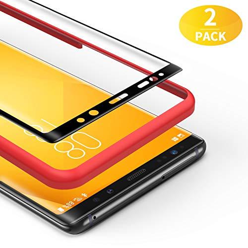 BANNIO Panzerglas für Samsung Galaxy Note 8,[2 Stück] 3D Panzerglasfolie Schutzfolie für Samsung Galaxy Note 8 mit Positionierhilfe,9H Härte,Anti Rayures,Blasenfrei,Anti-Kratzen,Schwarz