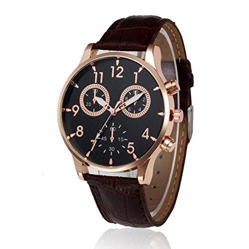 Orologio da polso uomo - uomo nero orologio da polso al quarzo analogico in pelle da uomo orologi da polso di lusso casual da uomo di design semplice morwind (marrone)