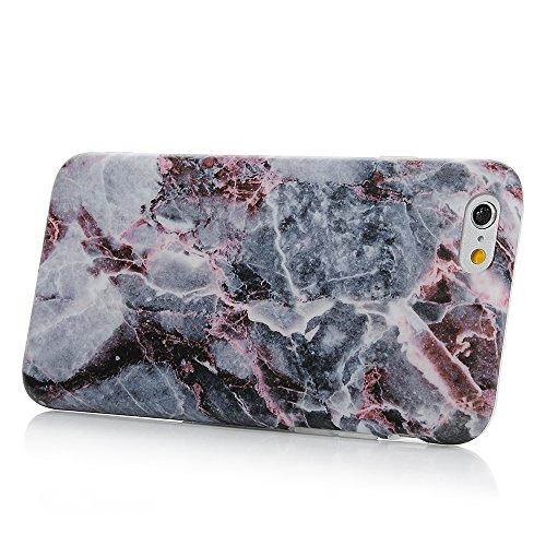 iPhone 6/6s Hülle Badalink Gefrorenes Marmor TPU Case Cover Ultraslim Handyhülle Schutzhülle Silikon Bumper Schutz Tasche Schale Antikratz Backcover, Schwarz+Blaun Schwarz+Blaun