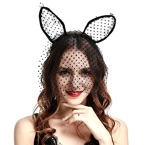 Adult Cat Ohren Stirnband mit Spitze Schleier Maske, süße Haarband für Hochzeit Cosplay Kostüm Zubehör (Süße Masken Für Halloween)