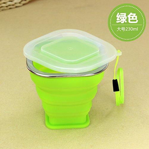 Tragbare mini Falten cup Silikon Teleskop Becher mit Deckel outdoor Ausflüge Wasser waschen Cup 210/230 ml, 230 ml grün (Waschen Bier Pong)
