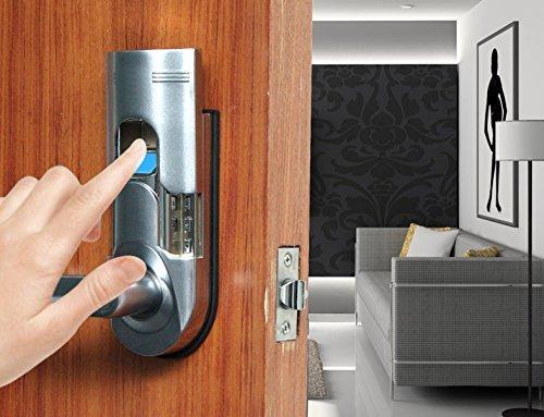 Assa Abloy Digi Bio-metric Security Keyless Keypad Fingerprint Door Lock Knob Entry 86 Chrome (Left Handle Door Lock)
