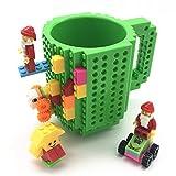 VANUODA Build on Brick Tasse, Building Blocks Mug Puzzle Becher, Weihnachtengeschenk Idee, Geschenke Männer Kinder Mama Papa (Grün)