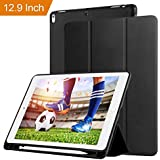 Oaky Newest IPad Pro 12.9 Inch 2017 Case With Pencil Holder Shockproof Lightweight Soft TPU Folio Smart Back Cover And Trifold Stand With Auto Sleep/Wake, Protective, Magnet Protective Function Perfect Match For Apple IPad Pro 12.9 2017 With Built-in Appl