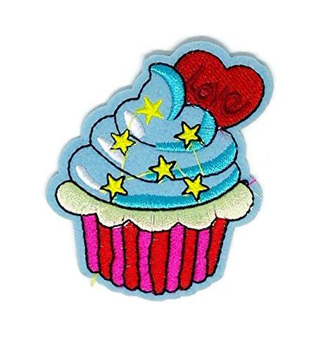 Rosa Blau Sweet Cupcake Dessert Cartoon bestickt Nähen Eisen auf Patch Cartoon Nähen Eisen auf bestickte Applikation Craft handgefertigt Baby Kid Girl Frauen Tücher DIY Kostüm Zubehör