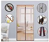 Super44day Magnet Türvorhang Fliegengitter Tür Insektenschutz, Fliegen Gitter, Moskito Netz, Magnetvorhang (120x220cm, kaffeebraun)