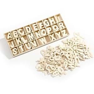 Lot de 130 petites lettres de l'alphabet en bois 20 mm