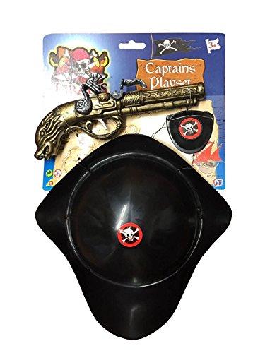 Islander Fashions Erwachsene Piratenhut und Pistole Set Kinder Piratenkapit�n Kost�m Zubeh�r Einheitsgr��e - Sparrow Jack Piratenhut