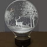 SMAQZ Lampada 3D Lampada Decorazione Casa - Lampada Luna, Luce Notturna A LED Cervo C A Cinque Colori