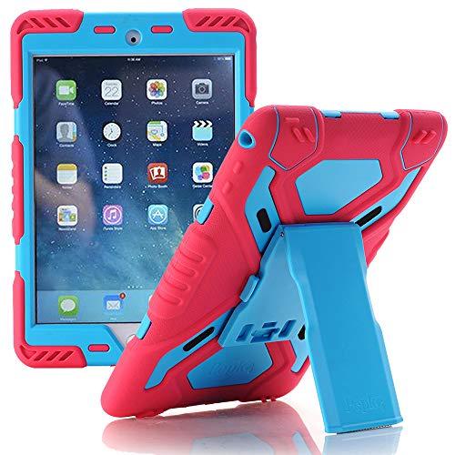 iPad 9.7 Zoll 2017 Hülle, Meiya multifunktionale Silikon stoßfest wasserdicht Drop robuste Case, Heavy Duty Case, Kinder Geschenk für Apple 9.7 Zoll 2017 Pink/Blau