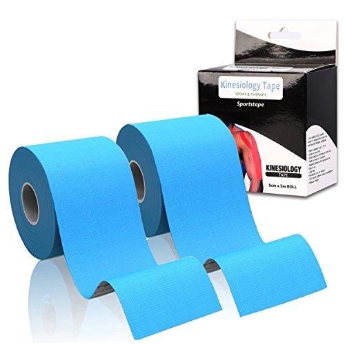 2pcs elastico nastro kinesiologico, 5cm x 5m rotolo nastro di sostegno Sports Physio Tape/per ginocchio Spalla Gomito Polso Caviglia Gamba vita Retro collo nastro/riduce affaticamento muscolare, lesioni/CE approvato Medical nastro (Nero/Blu), Blue