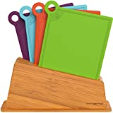 Vremi Cutting Board Set in Holder; 4 Plastic Poly Cutting Boards Dishwasher Safe BPA Free; Small Kitchen Chopping Boards with Color Coded Food Icons and Bamboo Index Stand by VREMI