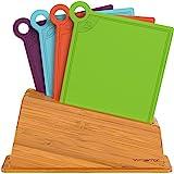 Vremi 4 Küchen-Cutting Boards Spülmaschinen-Safe mit Halter-Ständer und farbcodiertem Design für Fleisch Gemüse und Fisch -