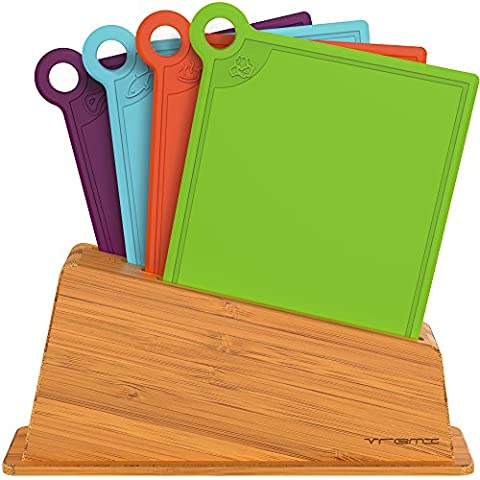 Vremi 5 Piece Plastic Cutting Board with Wood Holder Set - 4 Mini Colored Boards for Cutting Vegetables Meat and Fish - Comes with a Bamboo Rack as Kitchen Organizer - BPA Free and Dishwasher Safe