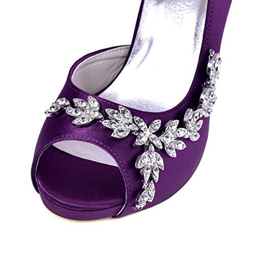 ElegantPark EP11045-IP Escarpins noeud Femme Chaussures de mariee mariage soiree AC01 violet