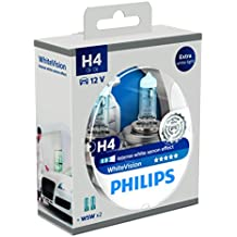 Philips WhiteVision 12342WHVSM - Bombilla Para Faros Delanteros (Efecto Xenon H4), Pack 2 Unidades