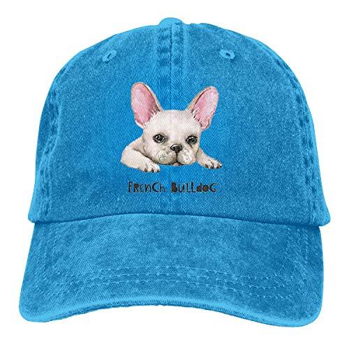 Wfispiy French Bulldog Excellent Verstellbare Gewaschene Vintage Baseballmützen Trucker Hat