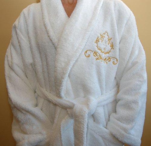 Top Qualität Hotel Edition bestickt Bademantel - ref. Royal, 100 % Baumwolle, weiß, xl (Bestickter Bademantel)