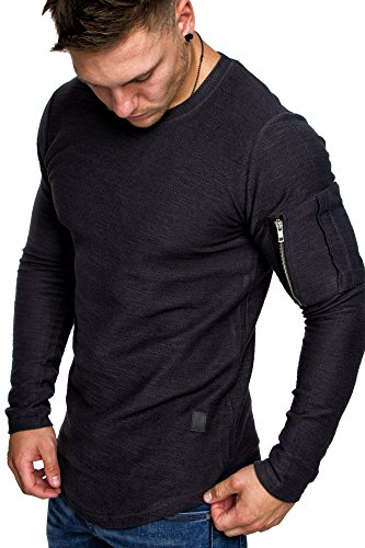 Amaci&Sons Oversize Vintage Herren Pullover Cargo-Style Hoodie Sweatshirt Crew-Neck 6067 Anthrazit M