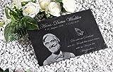 CHRISCK design Gedenktafel aus Naturschiefer mit Gravur Grabplatte Urne (30x20 cm Fotogravur)