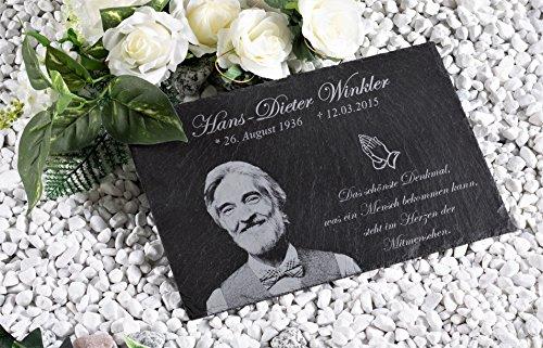 Grabplatte Grabstein aus Schiefer mit deiner persönlichen Gravur für Menschen | Gedenkstein mit Fotogravur Größe: 30x20 cm Gedenktafel für Menschen mit über 40 Motiven Grabschmuck personalisiert (Andenken-datei)