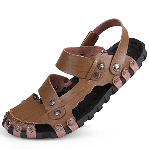 Men's Genuine Leather Slip On Casual Sandals Kaki