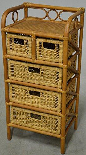 Hansen 2439/3/2 Rattanregal 3+2Ablagefächer, honigfarben, Abmessung:45x35xH95