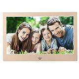 10-Zoll-HD Digital Bilderrahmen Digital Album Hohe Auflösung 1024 × 600 mit Fernbedienung Mehrere Funktionen LED-Uhr Kalender MP3 MP4, Gold
