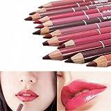 Lippenkonturenstifte Set, CINEEN 12 Farben Professionelle Lipliner Wasserdichte Lippenfarben Lippenstift Lidstrich mit Deckel