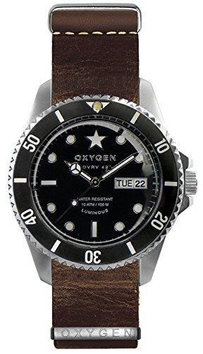 OXYGEN EX-DV-CIG-42-NL-DB Montre bracelet Mixte, Cuir, couleur: marron