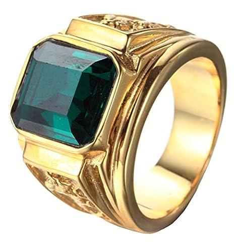 PAURO Herren Edelstahl Quadrat Grün Edelstein Stein Ring Mit Drachen Auf Seiten Vergoldet Größe 62