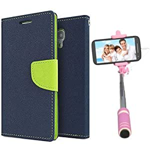 Aart Fancy Diary Card Wallet Flip Case Back Cover For Mircomax A106 - (Blue) + Mini Aux Wired Fashionable Selfie Stick Compatible for all Mobiles Phones By Aart Store