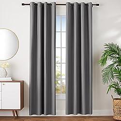 AmazonBasics - Juego de cortinas que no dejan pasar la luz, con ojales, 245 x 140 cm, Gris oscuro