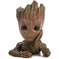 Maceta Treeman bebé Groot carnosas maceta Cute Verde Plantas Flores Pot con agujero soporte para bolígrafos
