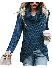 Cayuan Jerseys De Punto para Mujer Cuello de Tortuga Manga Larga Suelto  Prendas de Punto Suéter 0d6be538ed51