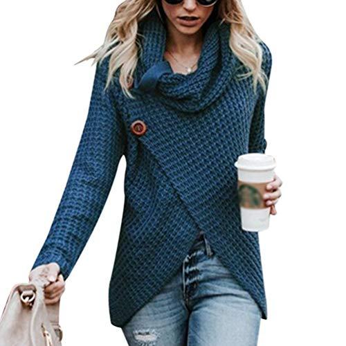 Cayuan Jerseys De Punto para Mujer Cuello de Tortuga Manga Larga Suelto  Prendas de Punto Suéter f39b07a824ad