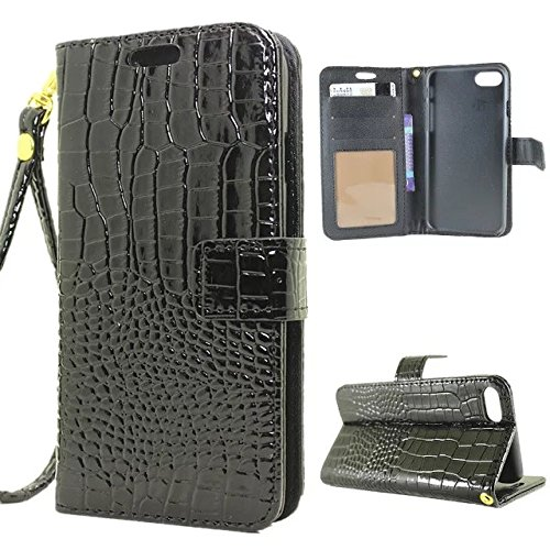 Krokodil Muster PU Ledertasche, Horizontale Flip Stand Folio Wallet Holster Case Cover mit Lanyard & Card Slots für iPhone 7 ( Color : Brown ) Black