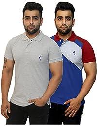 Yross Light Grey & Royal Blue Slim Fit Polo T-Shirt Combo Pack Of 2