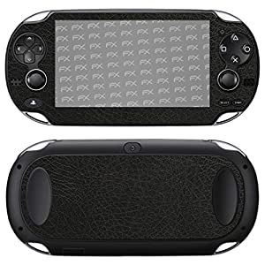 atFoliX Skin kompatibel mit Sony PlayStation Vita, Designfolie Sticker (FX-Leather-Black), Feine Leder-Struktur