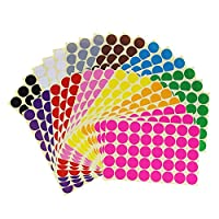 Sticky Color Coding Labels Removable Small Circle Dot Stickers for Classroom Organization Decorations Yard Sale Calendar Planner, 25mm Diameter, 12 Colors, Total 1440 Dots in 36 Sheets