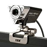 Covvy Webcam 1080P Full HD USB Web Kamera PC Webcam Netzwerkkamera Computer Kamera mit eingebautem Mikrofon für PC,Youtube, Skype und Internet Chat